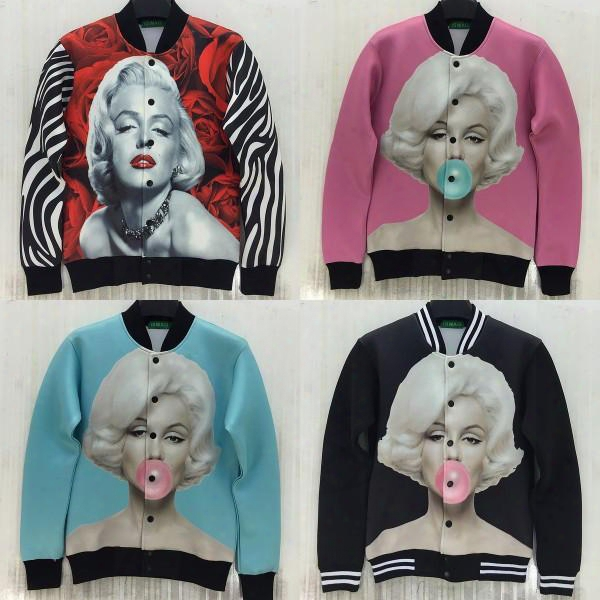 Hot 2014 New Women/mens 3d Floral Star Print Jacket Marilyn Monroe Rose Printed Outdoor Sportswear Baseball Coats Outerwear Tops