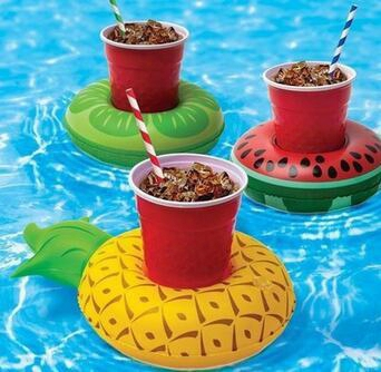 Inflatable Flamingo Drink Holder Palm Tree Swan Cup Holder Outdoor Swimming Bath Kids Toys Water Floating Party Decorations Cca5912 100pcs