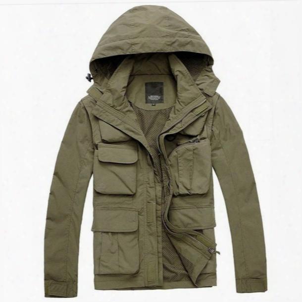 Men Sleeve Detachable Camping Jacket Army Military Hiking Outdoor Jacket Tactical Windstopper Hunting Training Jacket Men Fishing Vest
