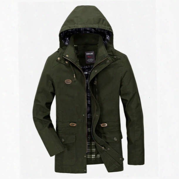 Fall-2016 Hooded Casual Bomber Jacket Military Outdoors Coat Windbreaker 4 Color M-5xl Ayg22