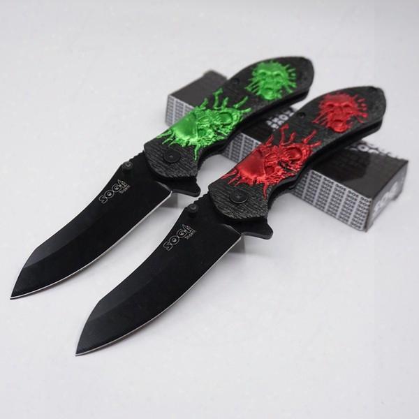 Folding Blade Knife Skull Print Army Pocket Knives 3cr13 Seel Aluminium Handle Outdoor Camping Tactical Survival Knife Gife Edc Tool