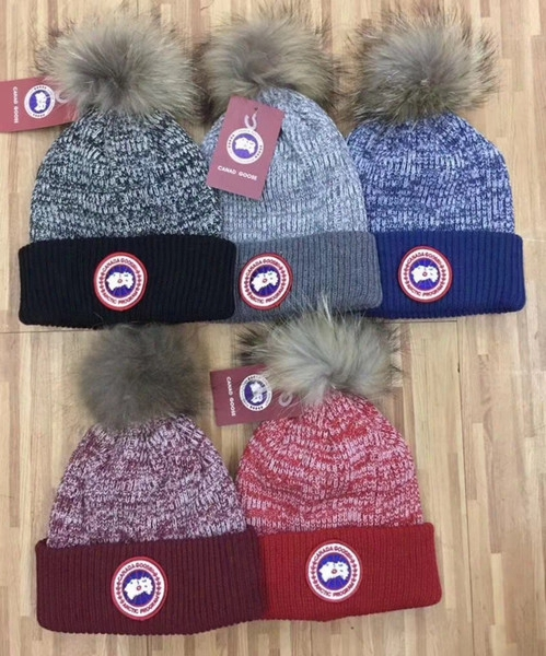 Hot Winter Unisex Brand Ca Canada Men Knitted Hat Classical Sports Skull Caps Big Fur Pom-pom Women Casual Outdoor Beanies