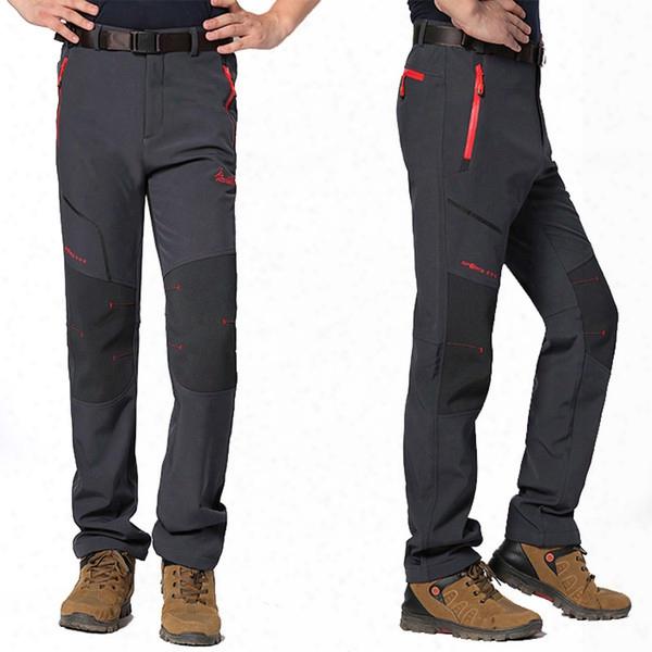 Wholesale-5xl Mens Winter Fleece Windproof Pants Outdoor Sports Pants Climbing Hiking Camping Trekking Ski Hunting Male Trousers Va015