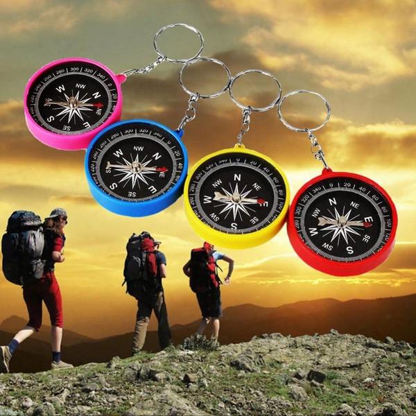 Wholesale-mini Compass Keyring Lens For Marine Outdoor Pocket Sports Camping Hiking Travel Navigation Multifunctional Plastic Plastic