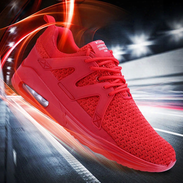 2017 New Mens Fashion Breathable Mesh Red Sneakers Outdoor Sport Runners Shoes Fashion Trainers Superstar Shoes Air Cushion Casual Shoes