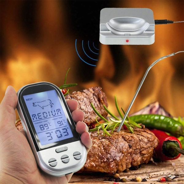 Wireless Remote Digital Food Meat Oven Thermometer With Probe,temperature Alarm For Bbq,grilling,roasting,kitchen Cooking