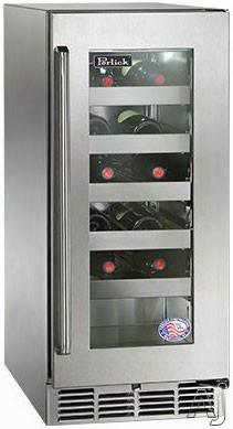 Perlick Signature Series Hp15wo33r 15 Inch Built-in Undercounter Outdoor Wine Reserve With 20-bottle Capacity, 5 Wine Adjustable Full-extension Wine Shelves, 2.8 Cu. Ft. Volume And Digital Temperature Control: Stainless Steel-glass, Right Hinge Door Swing