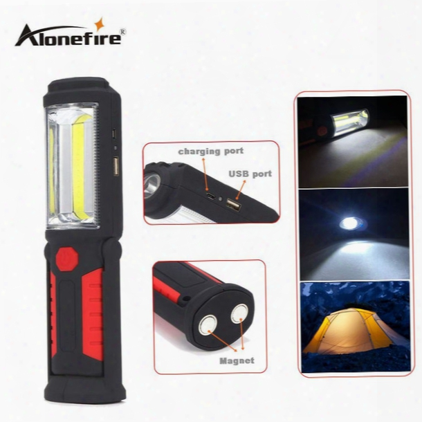 Alonefire C023 2 Modes Portable Mini Cob Led Rechargeable Flashlight Work Light Lamp With Magnet Hanging Hook For Outdoors Camping Light