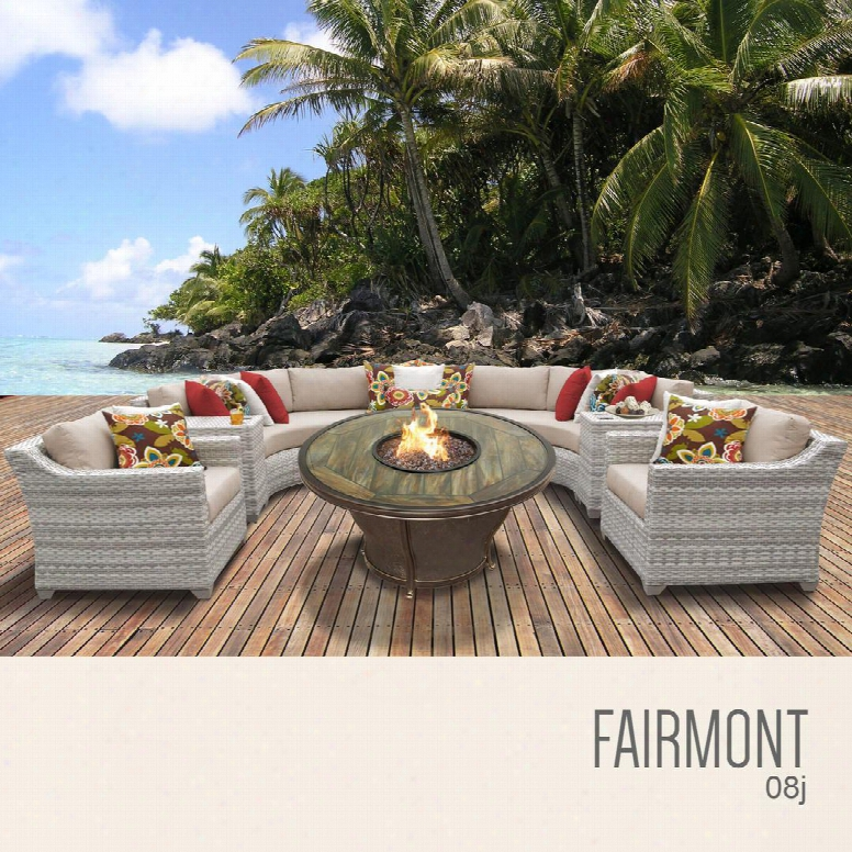 Fairmont-08j-wheat Fairmont 8 Piece Outdoor Wicker Patio Furniture Set 08j With 2 Covers: Beige And