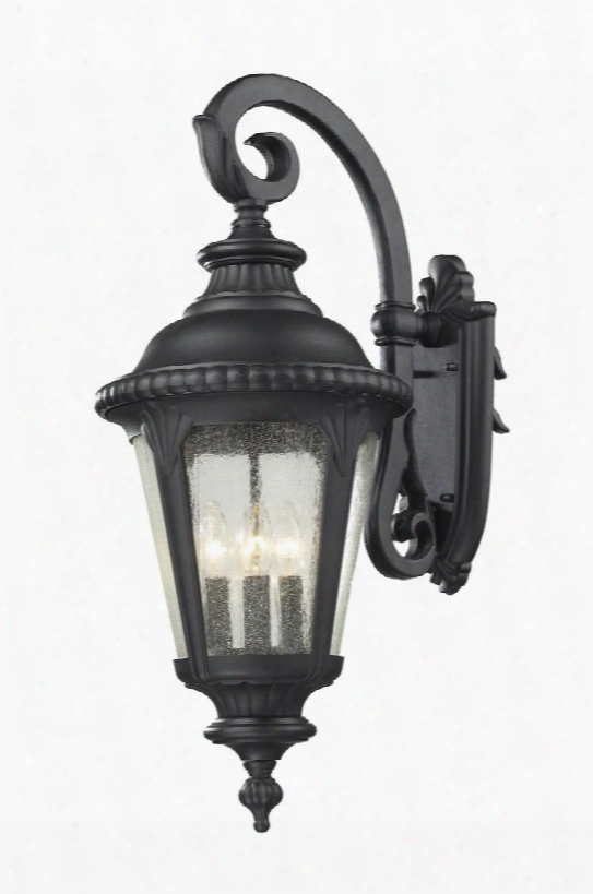 """Medow 545b-bk 11.875"""" 4 Light Outdoor Light Period Inspired Old World Gothichave Aluminum Frame With Black Finish In Clear"""