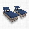 OASIS-2x-ST-NAVY Oasis Chaise Set of 2 Outdoor Wicker Patio Furniture With Side Table with 2 Covers: Grey and
