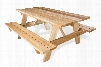 "PT70 69"" Picnic Table with Two Attached Benches Clear Western Red Cedar and A-Frame"