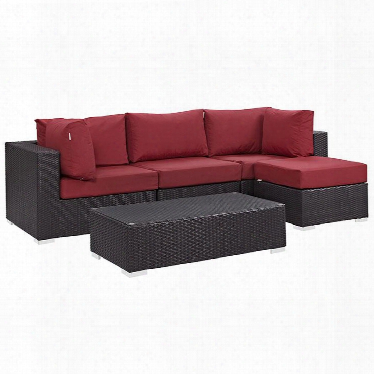 Convene Collection Eei-2172-exp-red-set 5 Pc Outdoor Patio Sectional Set With Powder Coated Aluminum Frame Washable Cushion Covers And Synthetic Ratatn Weave
