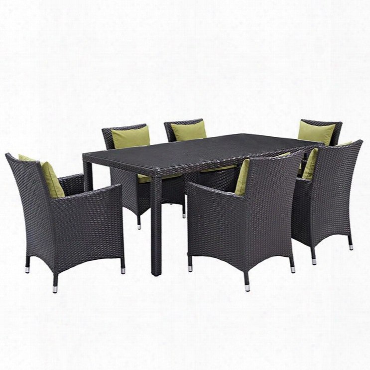 Convene Collection Eei-2199-exp-per-set 7 Pc Outdoor Patio Dining Set With Synthetic Rattan Weave Material Powder Coated Aluminum Frame And All-wea Ther Fabric