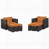 Convene Collection EEI-1810-EXP-ORA-SET 4 PC Outdoor Patio Sectional Set with All-Weather Fabric Cushions Powder Coated Aluminum Frame and Synthetic Rattan