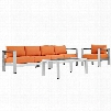 Shore Collection EEI-2563-SLV-ORA 4 PC Outdoor Patio Sectional Sofa Set with All-Weather Canvas Cushions Anodized Aluminum Frame Non-Marking Foot Caps and