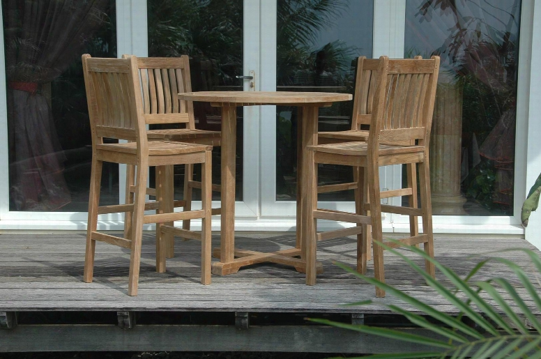 Set-09 5-piece Bar Set With Bahama Round Bar Table And 4 Avalon Bar