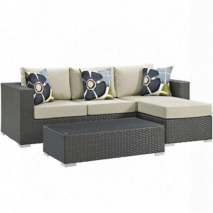 Sojourn Collection Eei-2384-chc-bei-set 3 Pc Outdoor Patio Sectional Set With Sunbrella Fabric Synthetic Rattan Weave Powder Coated Aluminum Frame Water