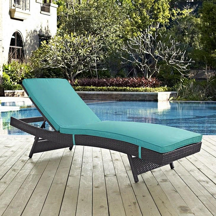 "Convene Collection Eei-2179-exp-trq 78.5"" Outdoor Patio Chaise With Fabric Cushions Powder Coated Aluminum Tube Frame Uv And Water Resistant In Espresso"
