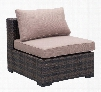 """701624 Bocagrande Collection 25"""" Middle Chair with Block Feet and Synthetic Weave Body in Beige and"""