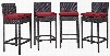 Convene Collection EEI-2218-EXP-RED-SET 4 PC Outdoor Patio Pub Set with Synthetic Rattan Weave Construction and All-Weather Fabric Cushions in Espresso Red