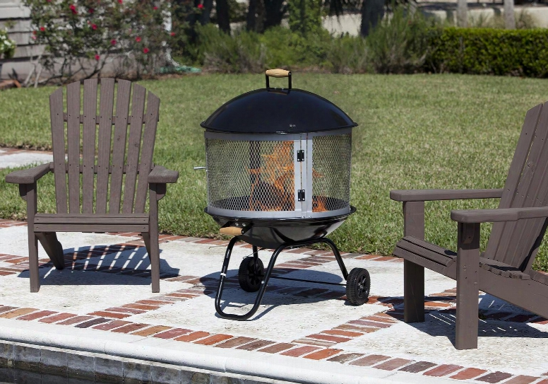 "01471 28"" Bon Fire Patio Fireplace With Wheels Handle Grip Steel Grate Porcelain Enamel Bowl And Porcelain"