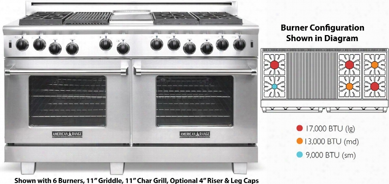 """Arr-660x2grl 60"""" Cuisine Series Gsa Range With 2x 4.4 Cu. Ft. Oven Capacity 6 Sealed Burners 22"""" Grill Convection Oven With Infrared Broiler In Spotless"""
