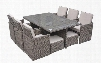 VGUBBARCELONA-RECT Renava Barcelona - Rectangular Compact Table 6 Fold-out Chairs and 6 Individual Ottoman Patio