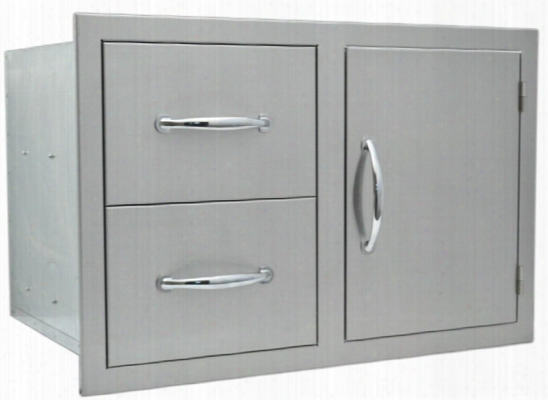 """Sodxddc20x30 20"""" X 30"""" Built In Deluxe Stainless Steel Double Door/drawer Combo Lined And Raised Reveal/bezel With A Full-extension Drawer Guides With Captive"""