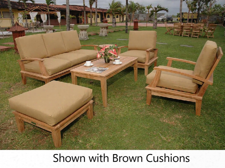 "Brianna Collection Set-41-5488 5-piece Deep Seating Set With Deep Seating Sofa 2 Deep Seating Armchairs 47"" Rectangular Coffee Table And Ottoman With Teak"