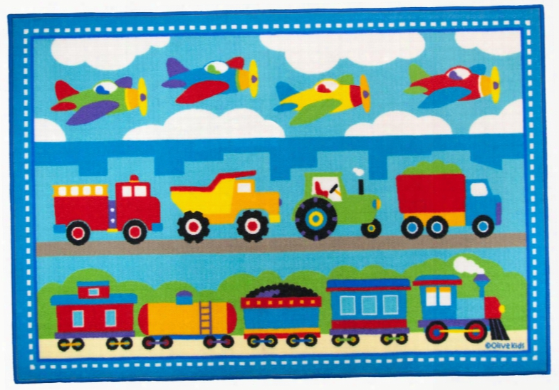 615410 Olive Kids Trains Planes Trucks 5x7 Rug Blue