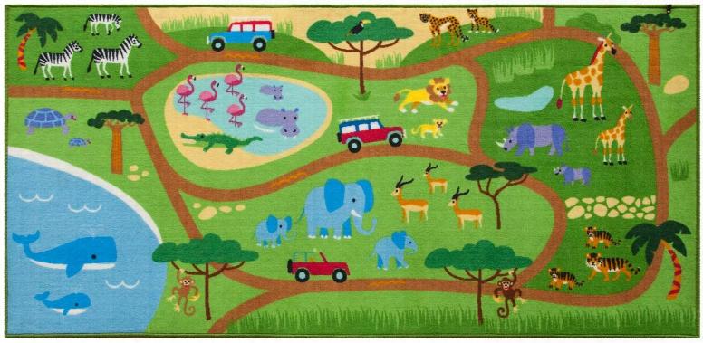 697416 Olive Kids Safari Play Rug Green