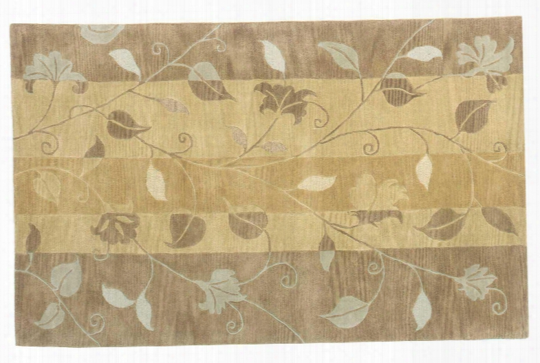 94391 Donovan Collection 100% Wool Hand Tufted Rug In Gold Foliage