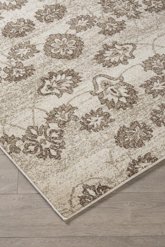 "Aviana R401952 84"" X 60"" Medium Size Rug With Floral Design Machine-woven 9mm Pile Height Spot Clean Only And Polypropylene Material In Beige"