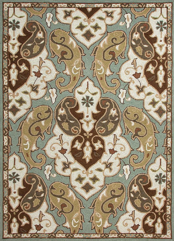 Barcelona Collection Hoja Rug In Sea Blue Design By Jaipuur