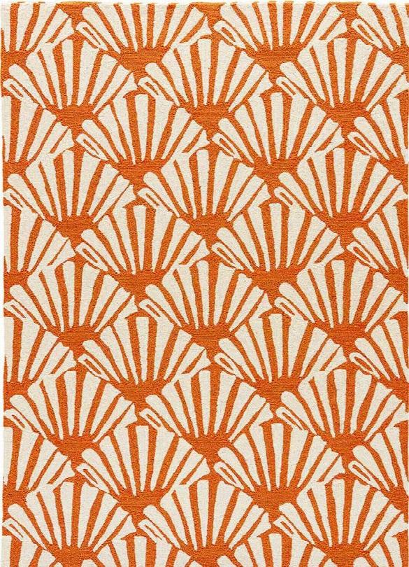 Barcelona Indoor-outdoor Rug In Burnt Orange & Cloud Cream Design By Jaipur