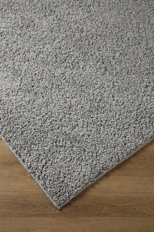 "Caci R244002 84"" X 60"" Medium Size Rug With Solid Shag Design Machine Made Tufted Polypropylene Material And Spot Clean In Dark Grey"