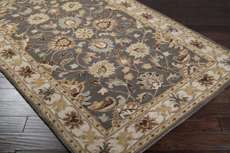 Cae1005-58 Small-sized Rectangular 100% Wool Rug With Hand-tufted Construction And Floral Design In Multi
