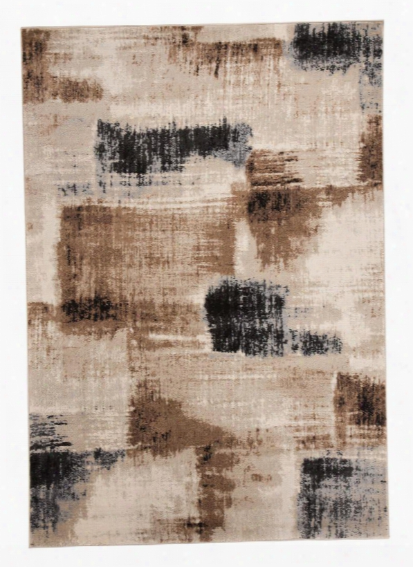 """Calvin R401062 5'3"""" X 7'3"""" Medium Size Rug With Brushstroke Design Machine-woven Polypropylene Material Backed With Latex And Jute In Brown And Lack"""