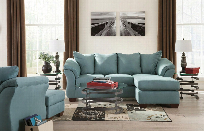 Darcy 75006schco3tr2l2wa 11-piece Living Room Set With Sofa Chaise Chair Ottoman Set Of 3 Tables Rug 2 Lamps And 2pc Wall Art Set In Sky