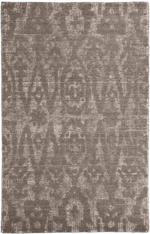 Finney R401692 5' X 8' Medium Size Rug With Ikat Design Hand-woven Wool Material Backed With Cotton And Latex In Taupe And Brown