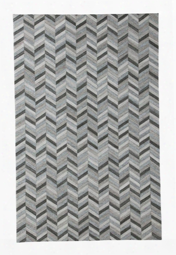 Gareth Collection R400721 8' X 10' Hand-woven Large Rug With Chevron Design Viscose And Wool Blend And Cotton Backing In Black And