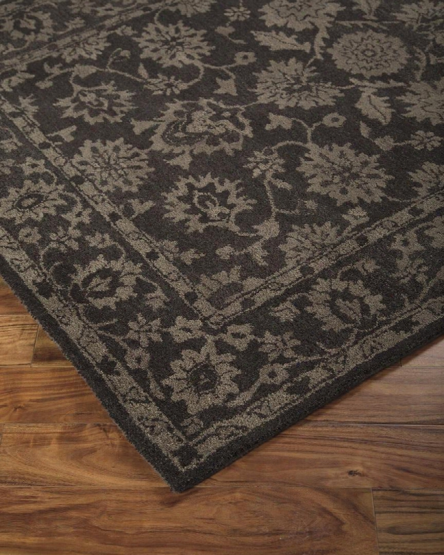 """Iwan R400071 20"""" X 96"""" Large Size Rug With Floral Design Hand-tufted 5-6mm Pile Height And Wool Material Backed With Cotton Latexi N Chcoolate"""