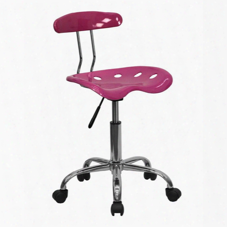 """Lf-214-pink-gg 29.25"""" - 34.75"""" Task Chair With 5.5"""" Height Range Adjustment Molded Tractor Seat Carpet Casters Swivel Seat And High Density Polymer"""