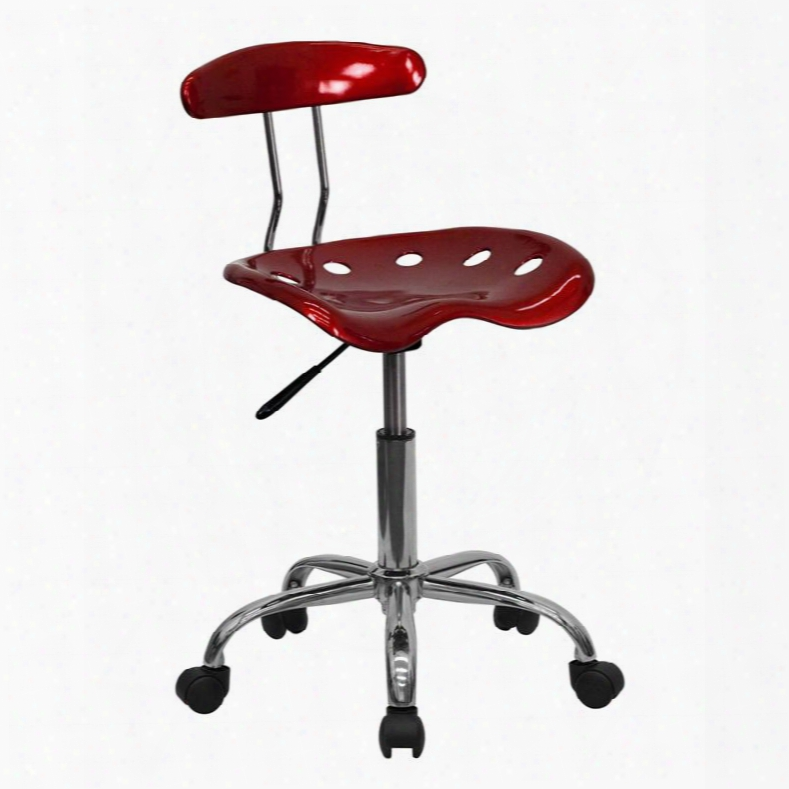 """Lf-214-winered-gg 29.25"""" - 34.75"""" Task Chair With 5.5"""" Height Range Adjustment Molded Tractor Seat Carpet Casters Swivel Seat And High Density Polymer"""