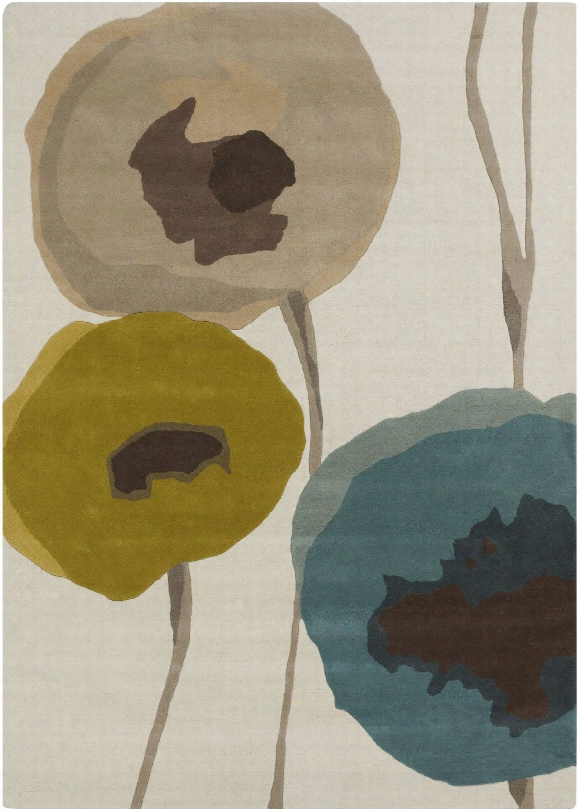 Sanderson Collection 100% Wool Area Rug In Antique White And Robin's Egg Blue Design By Sanderson