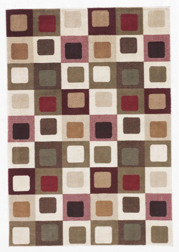 """Sloane 87.6"""" X 60"""" Medium Size Rug Upon Geometric Cube Patterned Design Machine Made Olefin Material And Dry Clean Only In Red"""