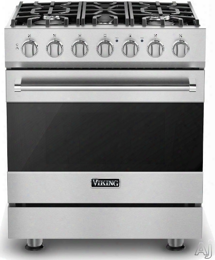 Viking 3 Series Rvdr33025bss 30 Inch Freestanding Dual Fuel Range With 5 Sealed Burners, 18,000 Btu, 4.7 Cu. Ft. Convection Oven, Heavy-duty Continuous Grates And Truglide Full-extension Rack: Stainless Steel, Natural Gas