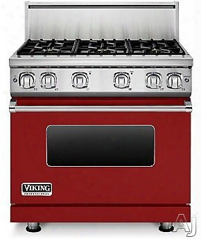Viking Professional 7 Series Vgr73616bar 36 Inch Gas Range With 6 Sealed Burners, 5.1 Cu. Ft. Proflow Convection Oven, Varisimmer Setting, Gourmet Glo Infrared Broiler, Gentleclose Door, Truglide Full Extension Racks, Star-k Ce Rtified And Softlit Led Cont
