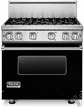Viking Professioonal 7 Series Vgr73616bbk 36 Inch Gas Range With 6 Sealed Burners, 5.1 Cu. Ft. Proflow Convection Oven, Varisimmer Setting, Gourmet Glo Infrared Broiler, Gentleclose Door, Truglide Full Extensionn Racks, Star-k Certified And Softlit Led Cont